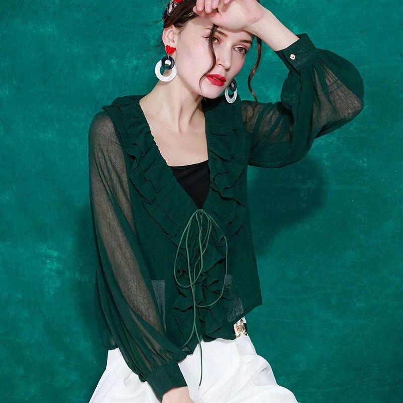 Nueva Completa Cuello Wbb2619 Moda Blusa 2019 Sólido hg V Wbb2619 Mujer En Volantes Primavera De Europa Camisa green Apricot Color Manga Patchwork vqYPdfw