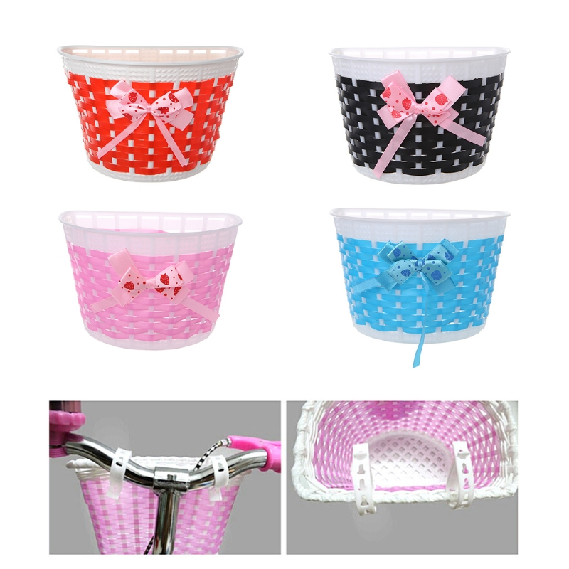 QILEJV Bicycle Scooter Basket Children Bike Basket Plastic Knitted Bow Knot Front Handmade Bag in Bicycle Bags Panniers from Sports Entertainment