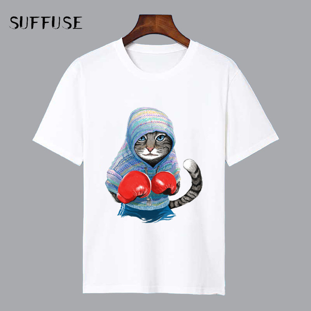 28895aaf3 Men's T-shirt Cool Cat Cartoon Print Loose Short Sleeve O-neck Casual White  Modal for Men Summer Tee