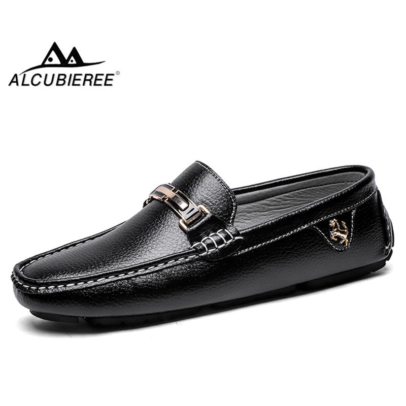 ALCUBIEREE Brand Genuine Leather Loafers High Quality Mens Driving Shoes Summer Casual Slip-on Flat Moccasins Male Boat Shoes