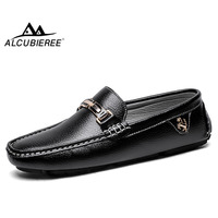 ALCUBIEREE Brand Genuine Leather Loafers High Quality Mens Driving Shoes Summer Casual Slip on Flat Moccasins Male Boat Shoes