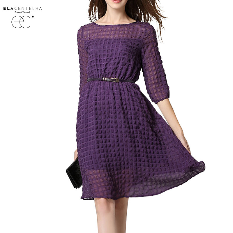 Buy Cheap ElaCentelha Brand Women Dress Casual High Quality Solid O Neck A Line Knee Length With Sashes Dress New Women's Dresses