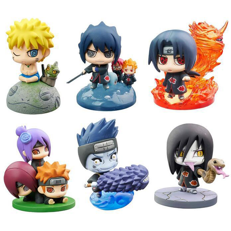 6pcs/set Naruto Sasuke Uzumaki Kakashi Gaara Action Figure With Mounts Japan Anime Collections Toys Gift For Kids #E sweet style halter three piece floral print ruffled underwire bathing suit for women