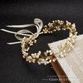 Великолепный ручной повязка на голову женщины кристалл жемчужные украшения лоб украшения для волос шелк группа свадебный венец свадебные аксессуары юхан
