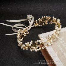 Hechos a mano magnífico diadema mujeres cristalino de la perla de la joyería la frente ornamentos del pelo banda de seda corona nupcial accesorios de la boda yuhan