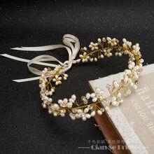 Hecho a mano magnífico diadema mujeres cristal perla joyas frente pelo adornos banda de seda corona nupcial accesorios de la boda yuhan