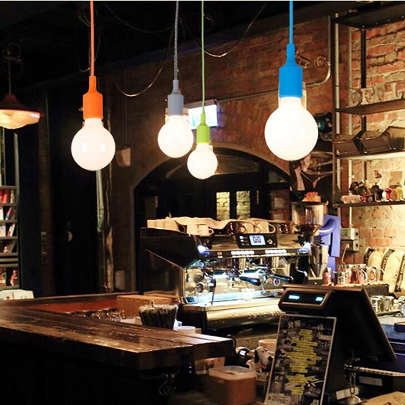 Mouth Colorful Pendant Lamp Led Bar Restaurant Bedrooms Hanging Light Bulb Diy Holder Silica Gel Art In Lights From