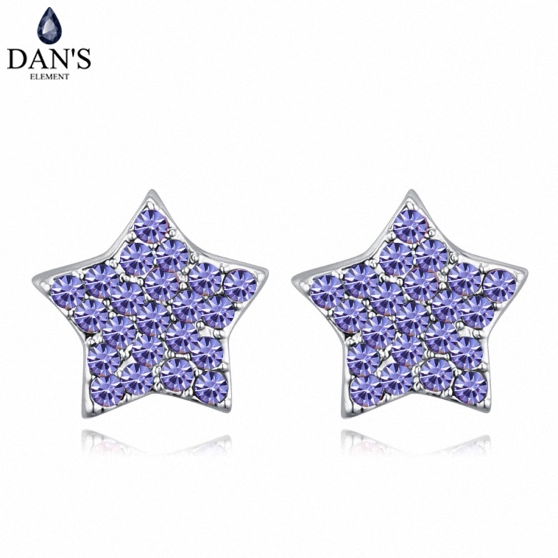 DANS 6 Colors Real Austrian crystals Stud earrings for women Earrings s New Sale Hot Round 128697