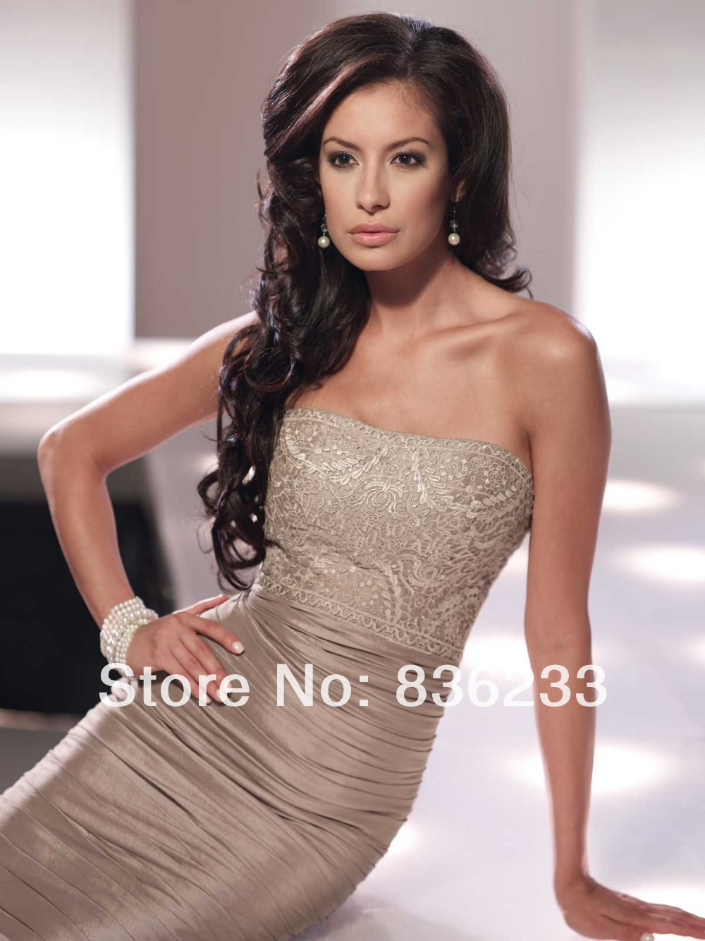 a3baadd5 Honorable 2014 Taupe matching bolero jacket Elbow Sheath Strapless Lace  Ruched Short Knee Length Mother Of The Bride Dresses-in Mother of the Bride  Dresses ...