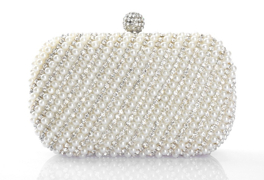 New Arrival White Clutch Handbag Crystal Evening Bags Handmade Pearl Diamond Handbags Party Bag Rhinestone Purse Free Shipping In Clutches From Luggage