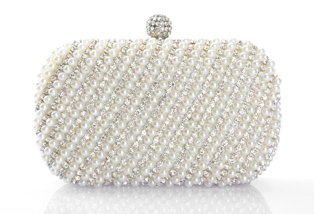 40d76207515 New Arrival White Clutch Handbag Crystal Evening Bags Handmade Pearl  Diamond Handbags Party Bag Rhinestone Purse Free Shipping