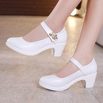 bd4ebb1b Talla grande 32-43 zapatos de tacón de plataforma zapatos de mujer 2019  zapatos de tacón blanco negro Mary Jane zapatos de boda para mujer zapatos  de novia