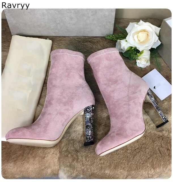 f15a640851 Pink Suede Woman Ankle Boots Bling Bling colorful crystal decor Female  Short Boot thick Heel concise