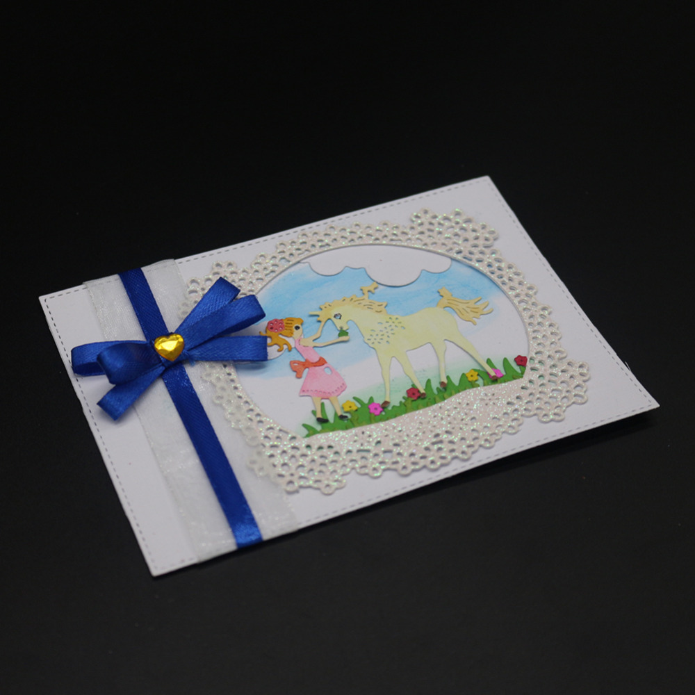 Metal Cutting Dies Horse and Beautiful Girl Frame Scrapbooking Embossing Decoration Craft Die Cut Stamp Paper Card Stencil