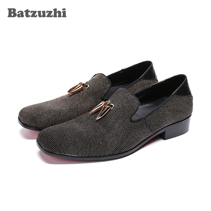 Batzuzhi New Luxury Men Shoes zapatos de hombre Handmade Flat Leather Dress Shoes for Men with Metal Tassels Party Shoes MenBatzuzhi New Luxury Men Shoes zapatos de hombre Handmade Flat Leather Dress Shoes for Men with Metal Tassels Party Shoes Men