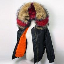 Winter Women's High Fashion Street Luxurious Real Raccoon Hooded Rabbit Liner Thick Warm Bomber Jacket Mini Parka Female Coat