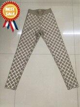 2016 New Arrivals Bandage Pants Leggings Brown Nude Black Pants Women Sexy Foil Print Wholesale HL