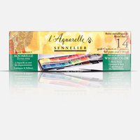 Freeshipping Top Sennelier senior artist solid watercolor pigment 14 color (including the paintbrush) honey