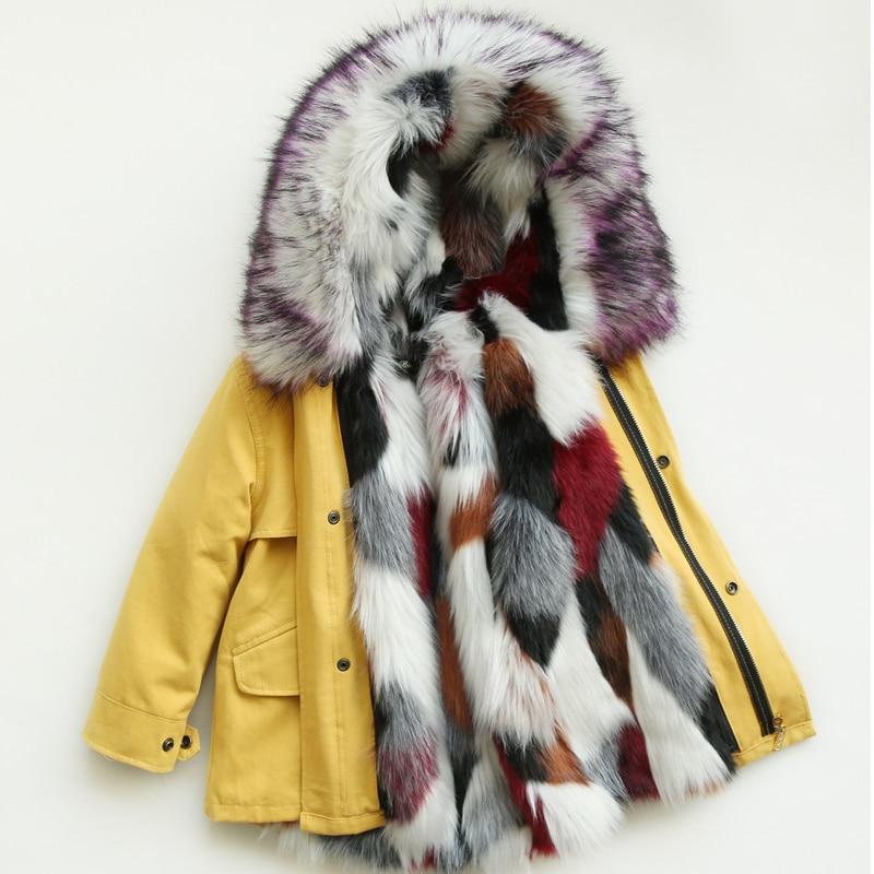 Children Snowsuit Winter Girls Fur Coat Kids Fur Jackets Hooded Detachable Spring Autumn Jackets For Girls Boys Winter Parkas