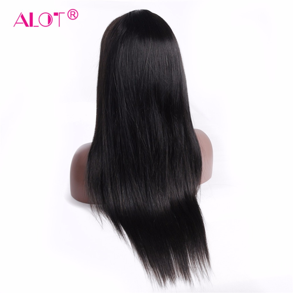 Lace Frontal Wig Pre Plucked With Baby Hair Peruvian Silky Straight Black 13x4 Lace Front Human