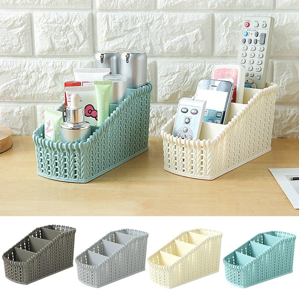 Urijk Boxe Baskets Cosmetics-Box Makeup-Organizer Desktop Imitation-Rattan Bathroom Plastic