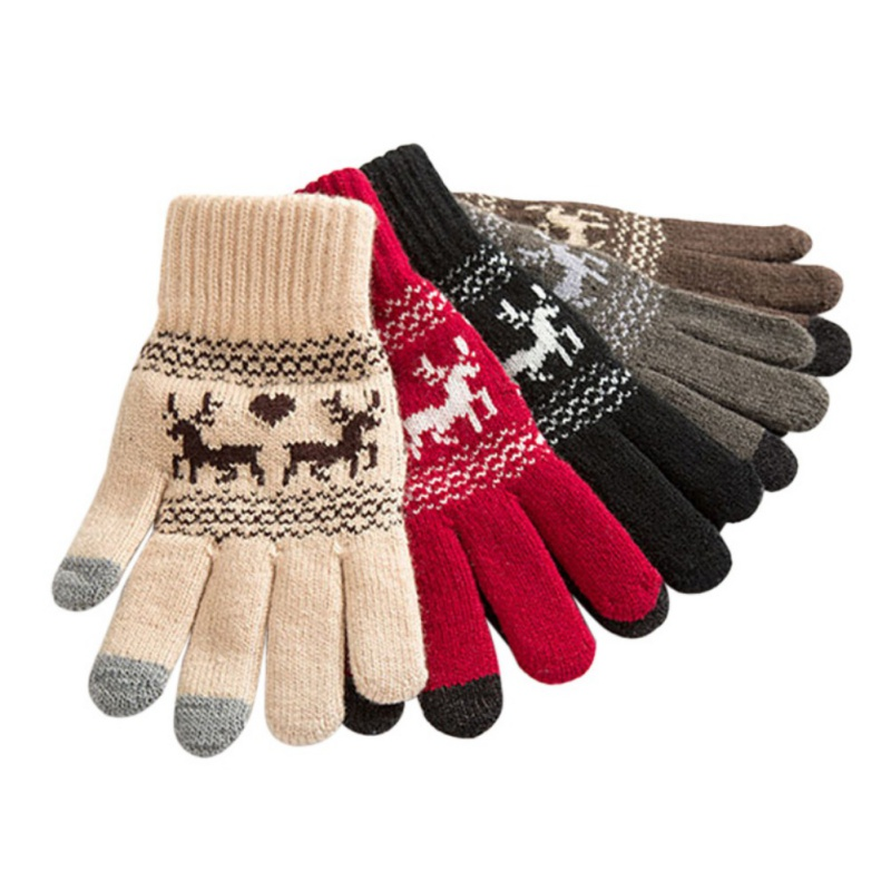 Wool Printed elk Touch Screen Knitted Gloves for Women/Men Winter Warm Touchable