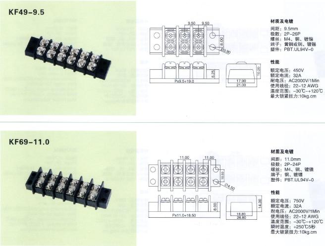 Клеммные блоки барьер 11 мм шаг двойной 1-12 положение 32A 750 V 2-24 P 5 шт