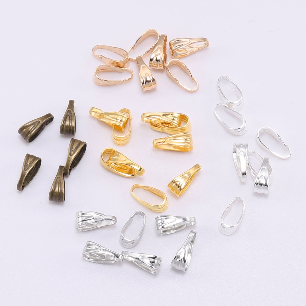 100pcs/lot 7 8 Mm Pendant Clasp Connectors Silver Gold Clips Connectors For Jewelry Making Finding Necklace Accessories Supplies