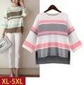 5xl plus tamaño grande blusas feminina primavera otoño invierno 2016 las mujeres de corea rayas sueltas de punto camiseta femenina A2343