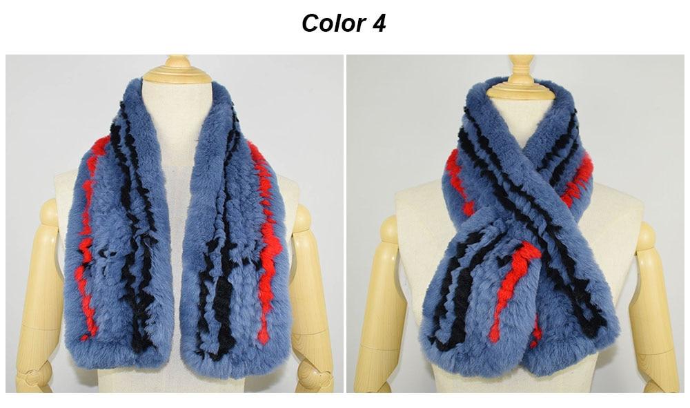 rex rabbit fur scarf plaid color 4