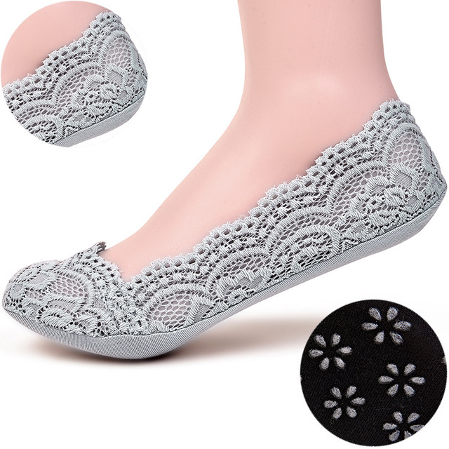 2016 Spring/summer South Korea national style Pure color small shadow flower woman's socks female CV lace slipper sock