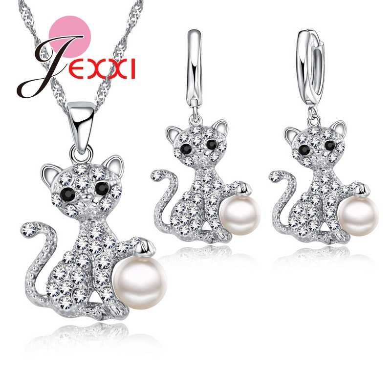 Fashion Cute Design Jewelry For Women 925 Sterling Silver White Pearl Necklace Hook Earring Bridal Jewelry Sets Wholesale