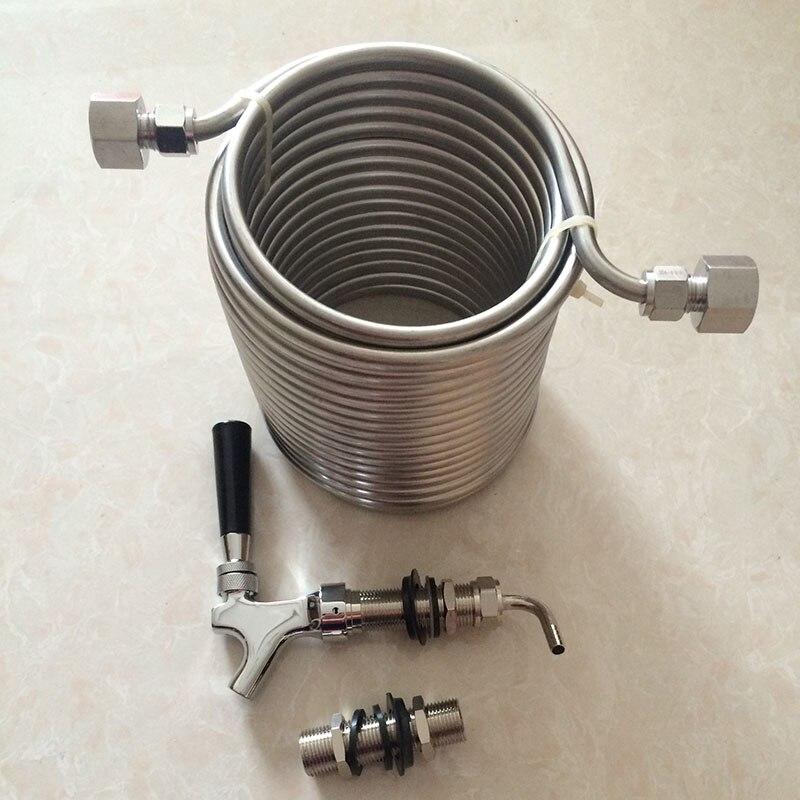 Refroidisseur de moût d'acier inoxydable de la catégorie comestible 304 de double couche de 15 m/bobine de refroidissement + robinet/robinet de bière de longue tige + tige de 80mm