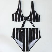Striped Bikini Push Up Bikinis Women Swimwear Stripe Biquini High Waist Bow Tie Bathing Suit Beach wear Swimsuit maillot de bain