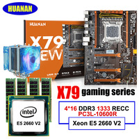 HUANAN Deluxe X79 Gaming Motherboard Xeon E5 2660 V2 With Cooler RAM 64G 4 16G DDR3