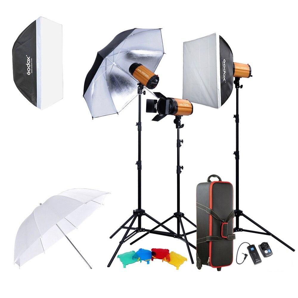 Godox 300SDI fotografía profesional lámpara de iluminación Kit de conjunto con soporte de luz Softbox Puerta de Granero gatillo 300 W Flash de estudio luz estroboscópica