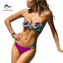 Купить с кэшбэком Tengweng 2019 Bikini Push up Bandeau Print Floral Swimsuit Plus size Swimwear Cut out Brazilian Female Bathing suit