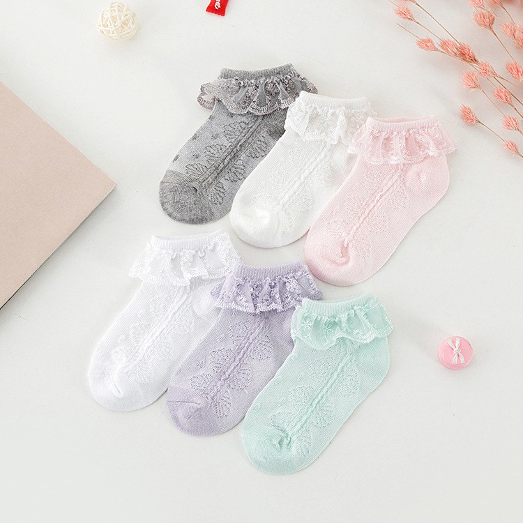Girls Lace Socks Frilly Toddler Cute Socks  Ruffle Kids Socks Spring And Summer Thin Girls Cotton Mesh Socks