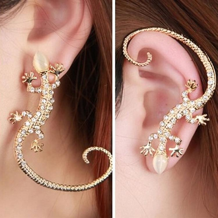 Trendy Inlaid Luxury Elegant Gecko Lizards Shaped Woman Earrings Silver Gold Color Charming Jewelery