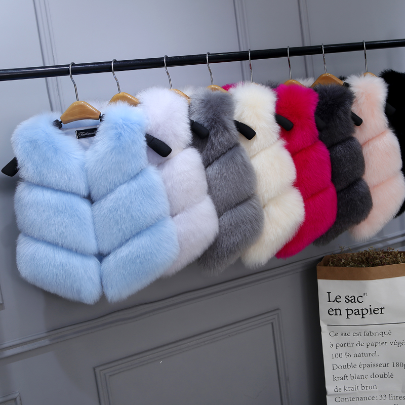 High Quality! Girls Faux Fox Fur Vest Candy colors children winter coats Smooth Fox Fur Jacket for kid Faux Fur Outwears