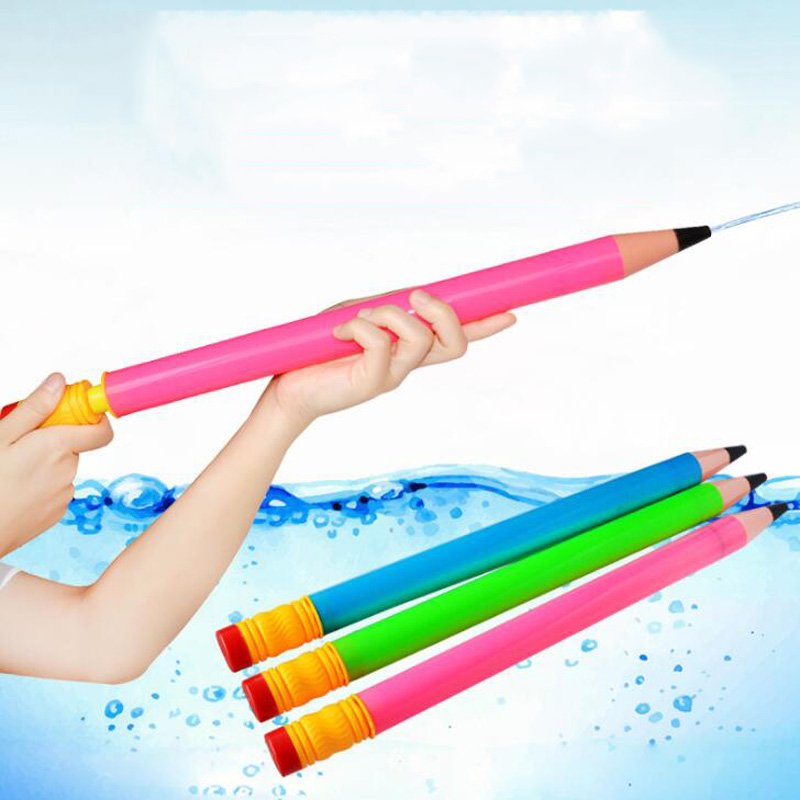 44CM Summer Swimming Plastic Pencil Pull Pull Water Gun Children Pistol Beach Outdoor Shooting Toys Children Spray Water Toys
