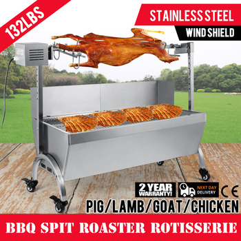 Pig Lamb Roast BBQ Stainless Steel Outdoor Cooker Grill 60KG Rotisserie Spit For USA Market