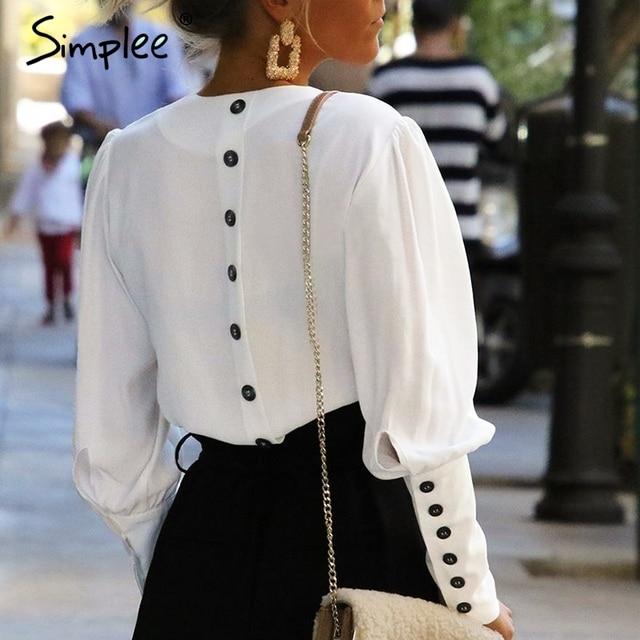 Simplee V шеи Женщины блузка рубашка с пышными рукавами и пуговицы белая блузка осень зима женские рубашки Топ Женский рабочая одежда Блузка Топы