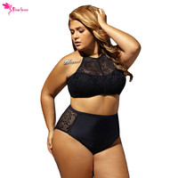 Dear Lover Plus Size Swimwear Women Bathing Suit Mesh Insert Lace Sexy Swimwear New 2017 Bikini