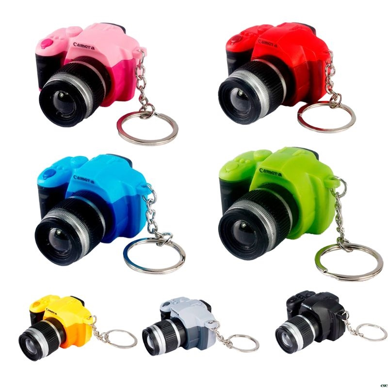 Creative Super Mini Sound Camera LED Keychain Pendant Cute DIY Art Craft Plastic Key Ring Decor New Year Valentine Birthday Gift