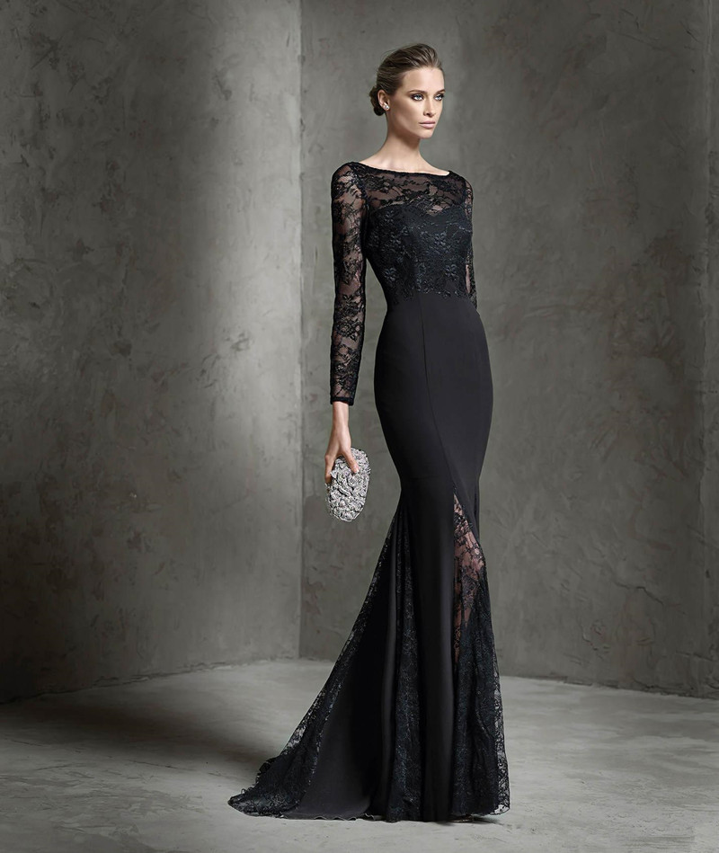 New Designer Sheer Lace Long Sleeve Evening Dress 2016 Black ...