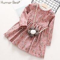 Humor Bear Children Clothes 2017 Autumn Girls Dress Stripe Cartoon Flowers Bag Design Baby Kids Dress