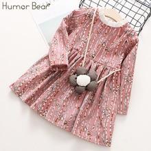 Humor Bear Children Clothes 2018 Autumn Girls Dress Stripe Cartoon Flowers bag Design font b Baby