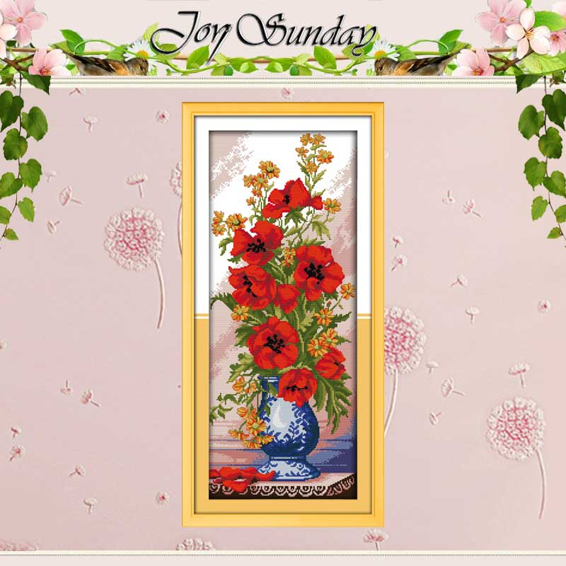 Poppy Celadon Vase Counted Cross Stitch 11CT 14CT Cross Stitch flowers Cross Stitch Kit for Embroidery Home Decor Needlework