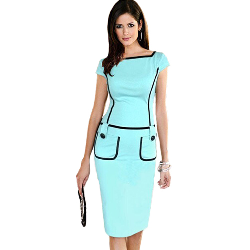 New Real Sheath Arrivals 2017 Women Office Dresses Fashion Summer Short Sleeve Pencil Dress Work Knee Length Polyester Spandex